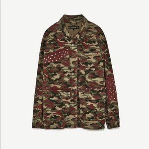 ZARA camouflage green & burgundy army jacket XS